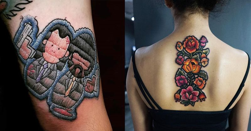 783e83647 These Gorgeous Embroidery Tattoos Look Like They're Stitched Into Your  Skin, And We're All For It