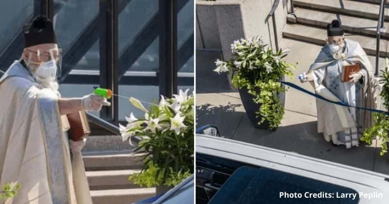 Priest Uses Squirt Gun To Spray Holy Water And Bless Drive Through